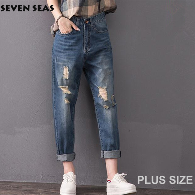 Plus size High Waist Jeans Blue Ripped Jeans Femme Baggy Destroyed Boyfriend jeans for women Vaqueros mujer