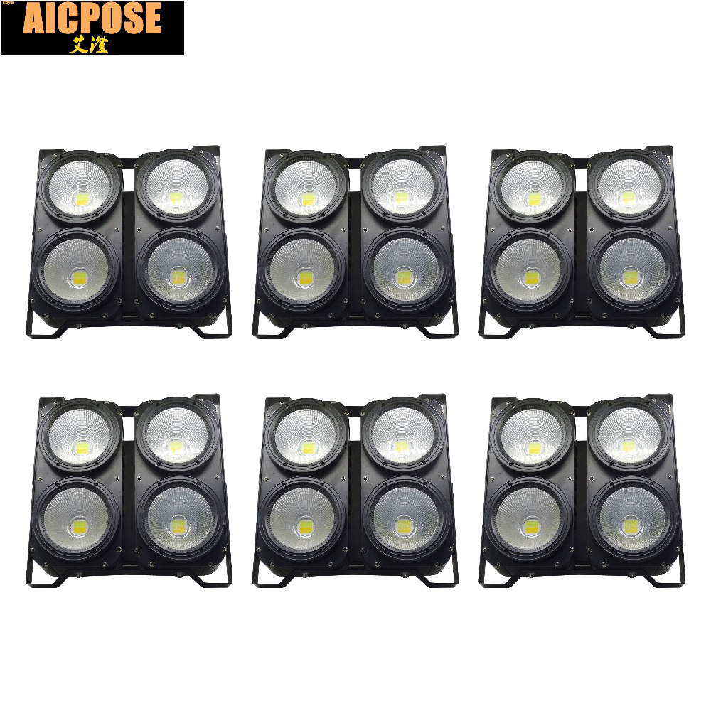 6units Professional Combination 4x100W LED blinder light 4eyes COB Cool/Warm White LED Wash Light High power DMX Stage Lighting