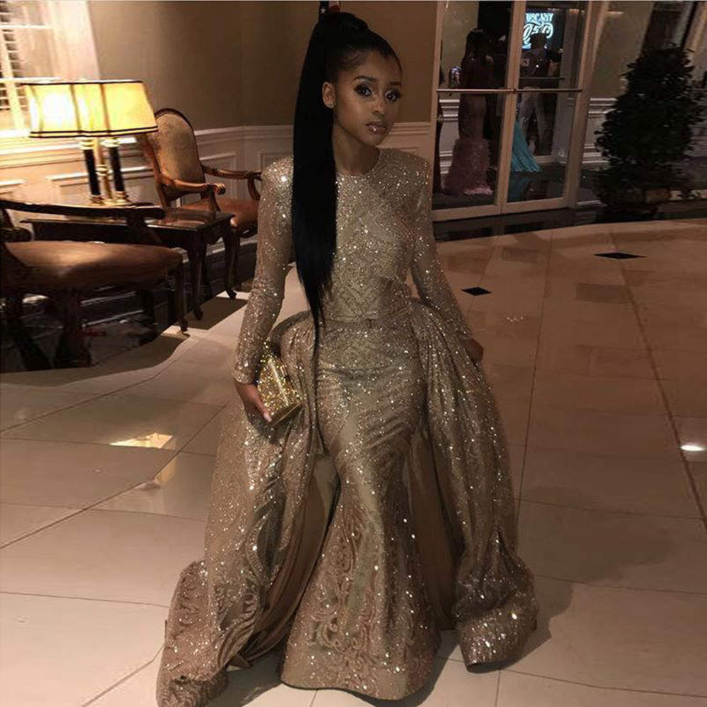 New Elegant Long   Prom     Dresses   2019 Mermaid Long Sleeve Sparkly Golden African Two Piece Women   Prom     Dress   With Detachable Train