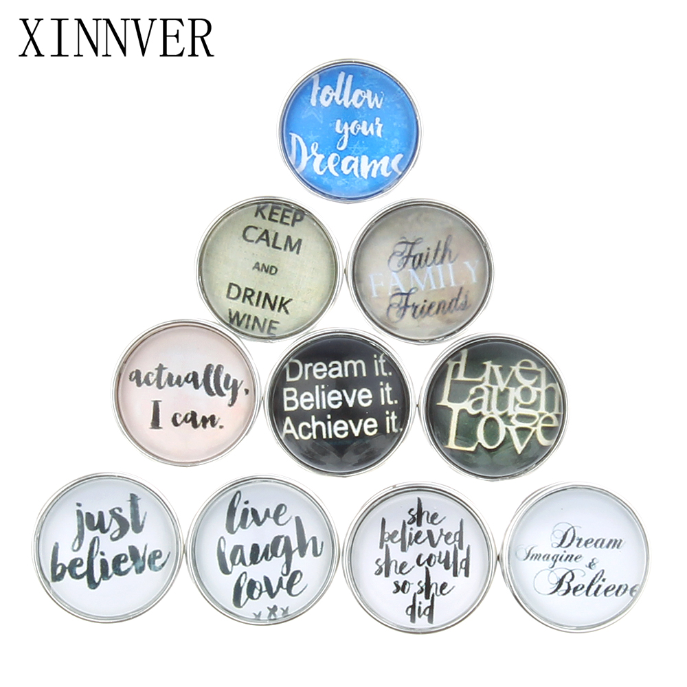 10pcs/lot Mixed Colors Blessing 18mm Glass Snap Button Jewelry Faceted Glass Snap Fit Snap Bracelet Xinnver Snaps Jewelry