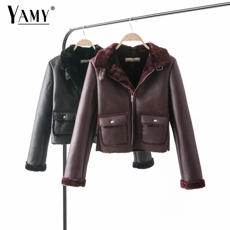 2018 Winter faux leather jacket women Plus velvet warm coat women long sleeve biker jacket pockets