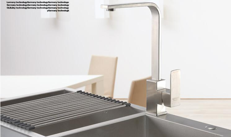 Free shipping Kitchen Faucet 304 Stainless Steel Square Rotatable Modern Tap  Single Handle Wash Basin Sink Mixer Faucets