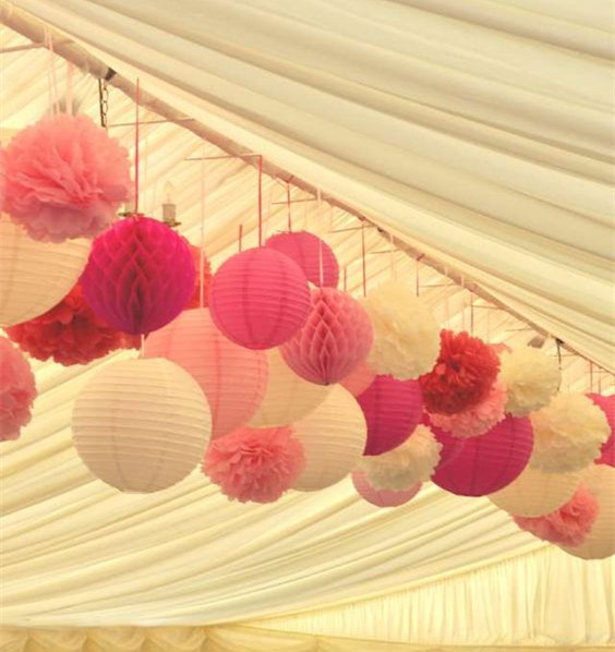 Beautiful Wedding Ideas Hanging Decoration Tissue Paper