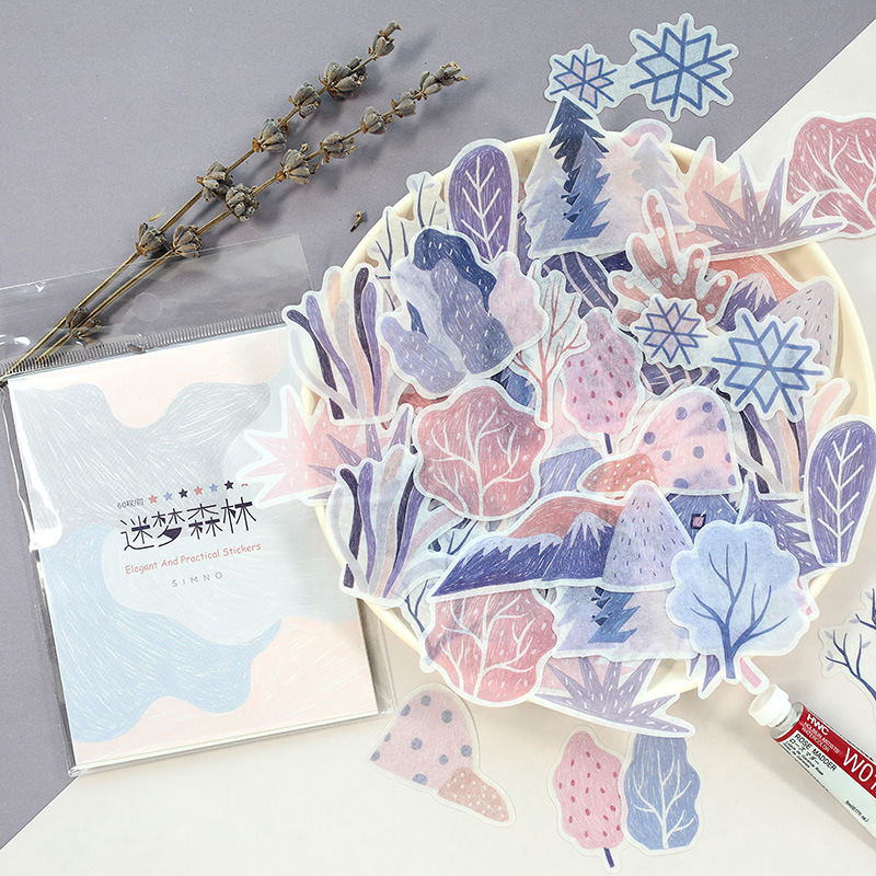 60pcs/pack Winter Forest Adhesive Stickers Decorative Album Diary Stick Label Paper Decor Stationery Stickers