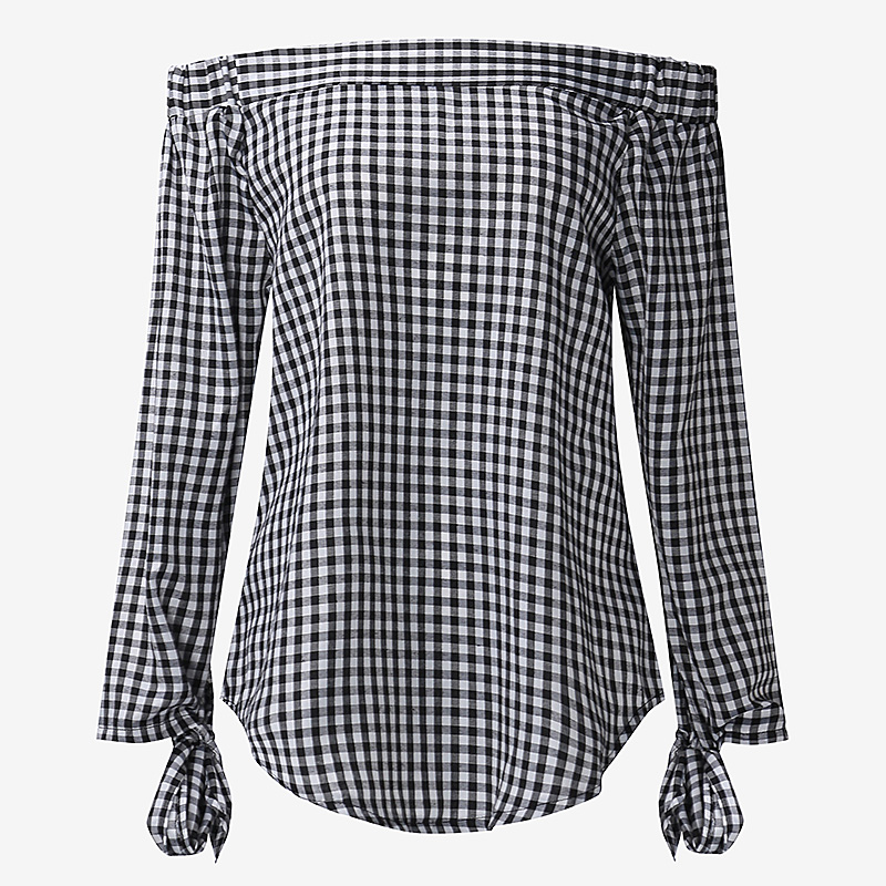 Celmia Women Off Shoulder Sexy Plaid Checks Blouses Shirts Slash Neck 3/4 Sleeve Bowknot Casual Loose Tops Plus Size Blusas