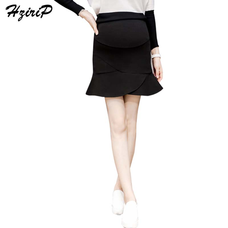 HziriP New 2017 Autumn Winter Black Mini Skirts Fashion Pregnant Women High Waist Mermaid Skirt Pregnancy Clothes Plus Size