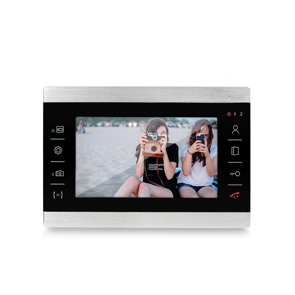 Купить с кэшбэком Dragonsview 4 Wire Video Intercom System 960P 7 inch Video Door Phone Doorbell Intercom 1 Monitor 2 Panels Wide Angle 2.3mm Len