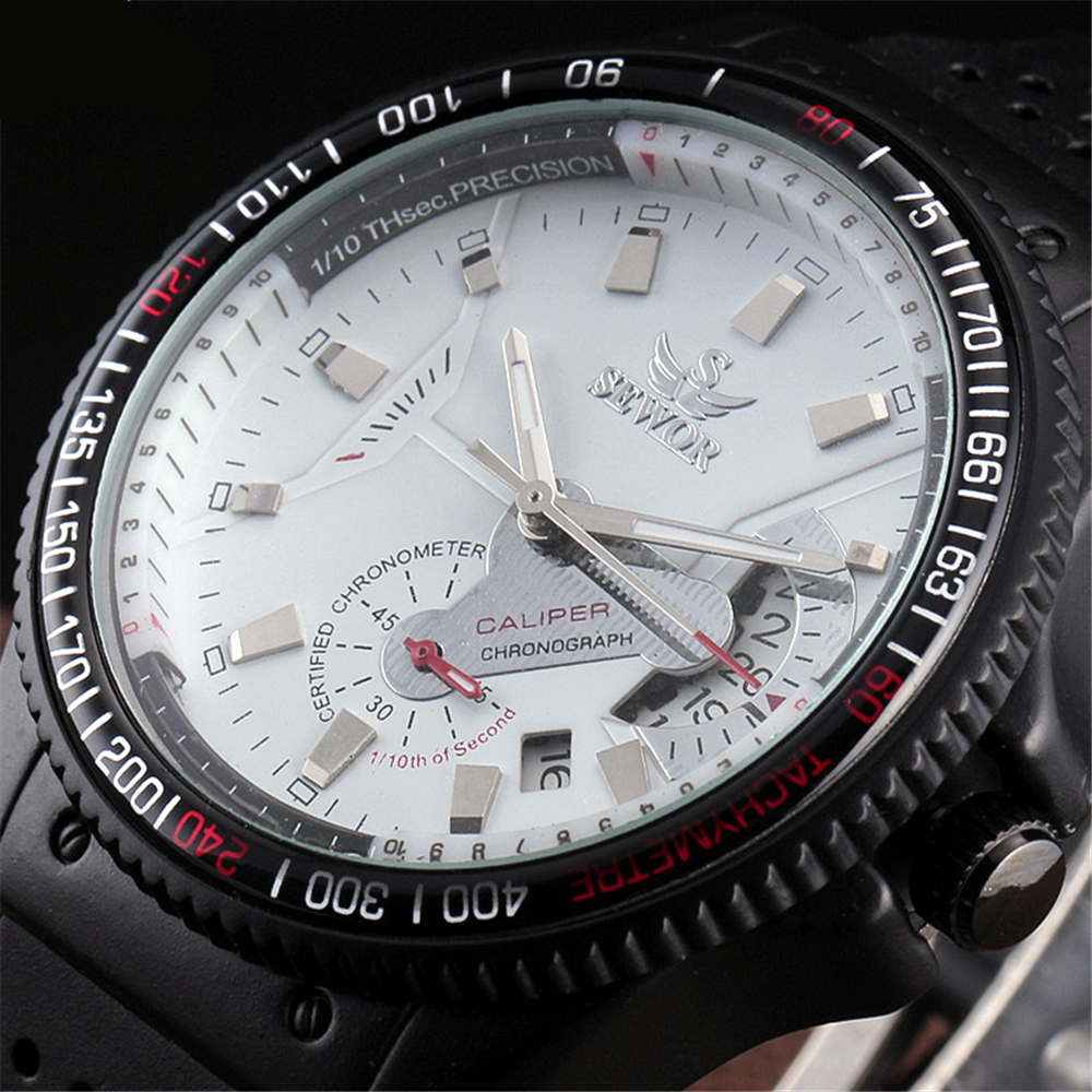 Top Sewor Casual Wristwatch Tachymeter Case Date Dial Sub-Dial Deco Automatic Mechanical Black Rubber Band Sport Men Watches winner men sports casual auto mechanical wristwatch soft rubber band sub dial auto date skeleton dial design watch gift box