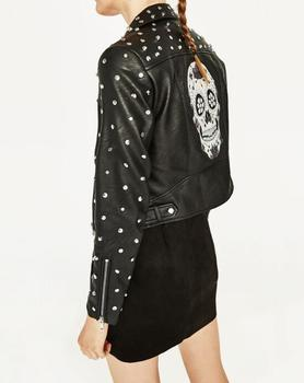 2017 Spring Black Studded Short Faux Leather Jacket Lapel Collar Long sleeves with zips Back With Skull Embroidery Biker JACKETS leather jacket