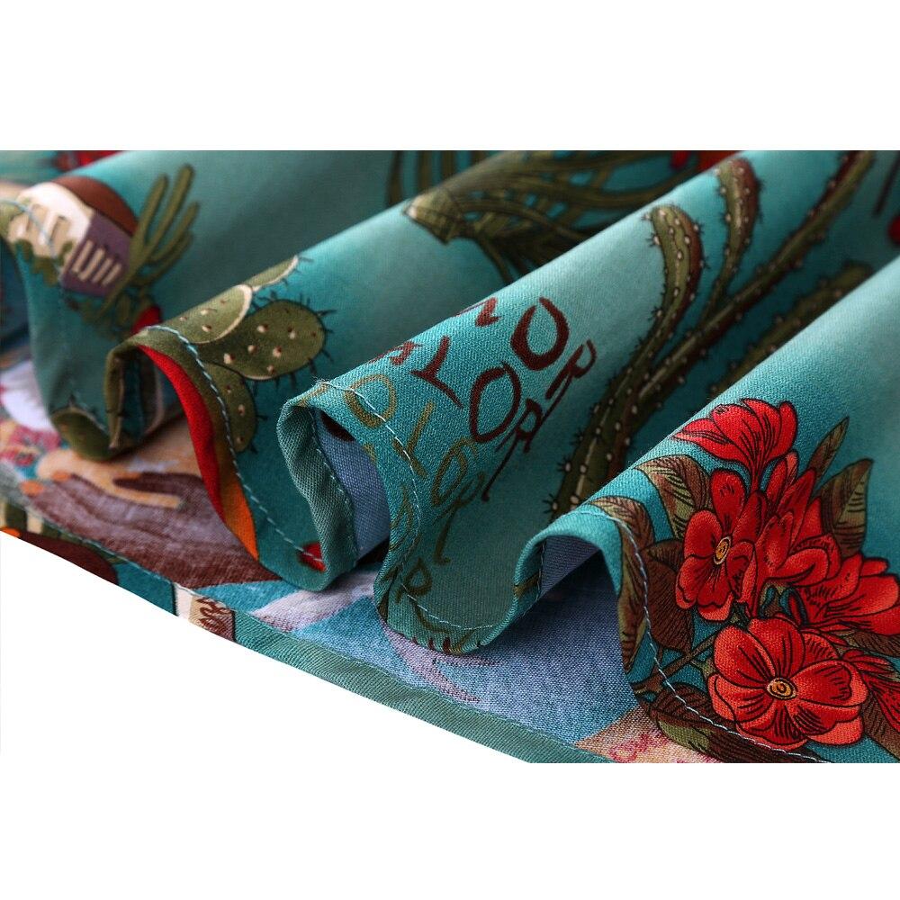 Image 4 - تنورة نسائية ميدي تنورة كلاسيكية من Rockabilly للسيدات بنبات 50s 60s من القطن بطيات عالية الخصر بنقوش صغيرة سوداء اللون تنانير يومية-في تنانير من ملابس نسائية على AliExpress