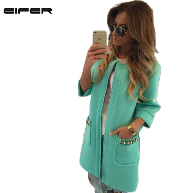 2016 EIFER Made New Arrive Trench Coat For Women Solid Candy Color Vacuum Cotton Winter Coat With Three Quarter Casacos