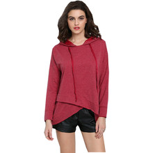 European American T Shirt Women Rose Red Asymmetric Hooded Sweater Tops long-sleeved T-shirt women's Clothing Vestidos LBD8833(China)