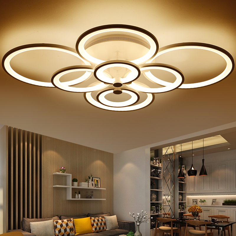 Wohnzimmer Lampe Gold Creative Acrylic Ring Led Ceiling Light 4/6/8/10 Head Ring