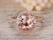 MYRAY 14k Rose Gold Natural 9x9mm Round Pink Morganite Stone Diamond Halo Engagement Ring Vintage Wedding Women Rings Thin Band