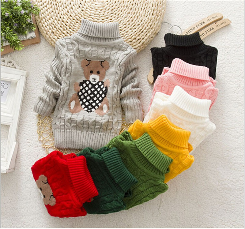 NYSRFZ Children Clothes High Quality Baby Girls Boys Pullovers Turtleneck Sweaters Autumn Winter Warm Cartoon Kids Sweater Q180