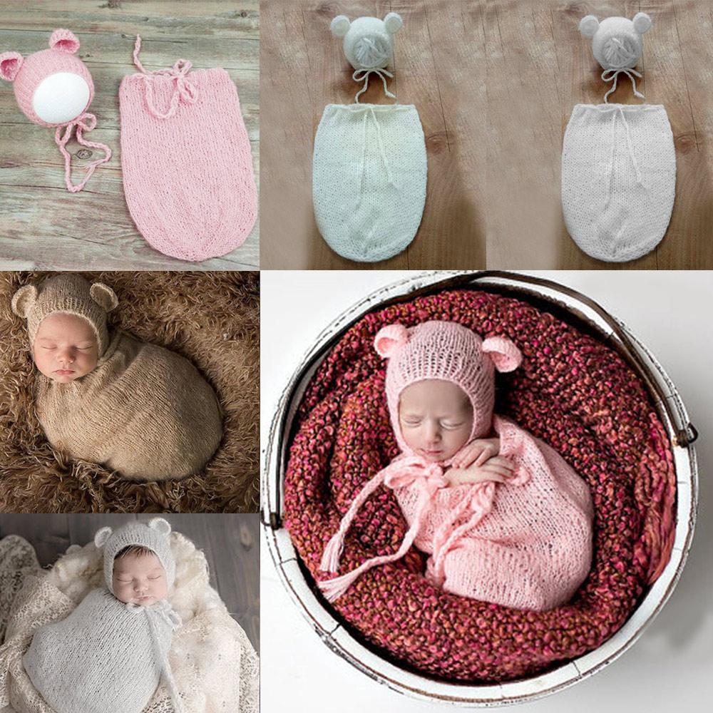 2pcs Newborn Baby Crochet Cute Bear Sleeping Bag Photography Props Infant Unisex Baby Photo Shoot Studio Outfits Clothes Sleepsacks Boys' Baby Clothing