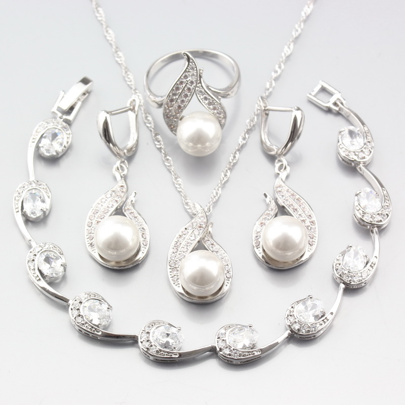 Special Price Silver ColorWomen Wedding Jewelry Sets Natural Pearl White Zircon Earrings/Pendant/Necklace/Ring/Bracelet