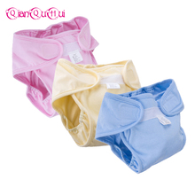 [QianQuHui] HOT!New 100% Cotton Baby Reusable Cloth Diaper Soft Leak-proof Washable Nappies 3 Sizes Newborns Training Pants