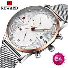 REWARD Ultra Thin Chronograph Watch Men Luxury Sport 30M Waterproof Watches Mens Stainless Steel Auto Date Wristwatches