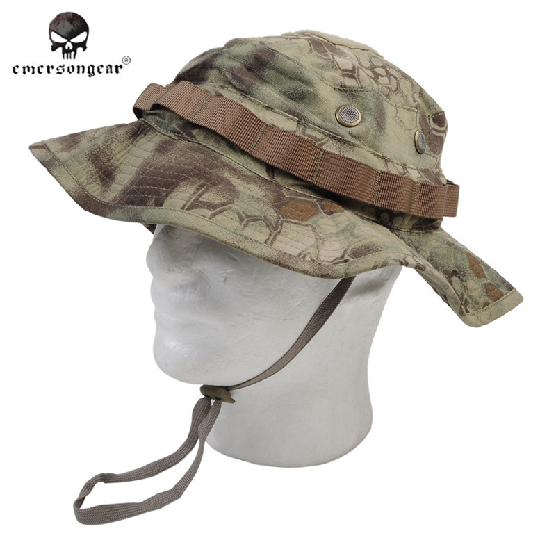 EMERSON Boonie Hat Military Tactical Army Hat Anti-scrape Grid Fabric  Camouflage Hat Kryptek Mandrake Hunting Cap for Men 32c94512705