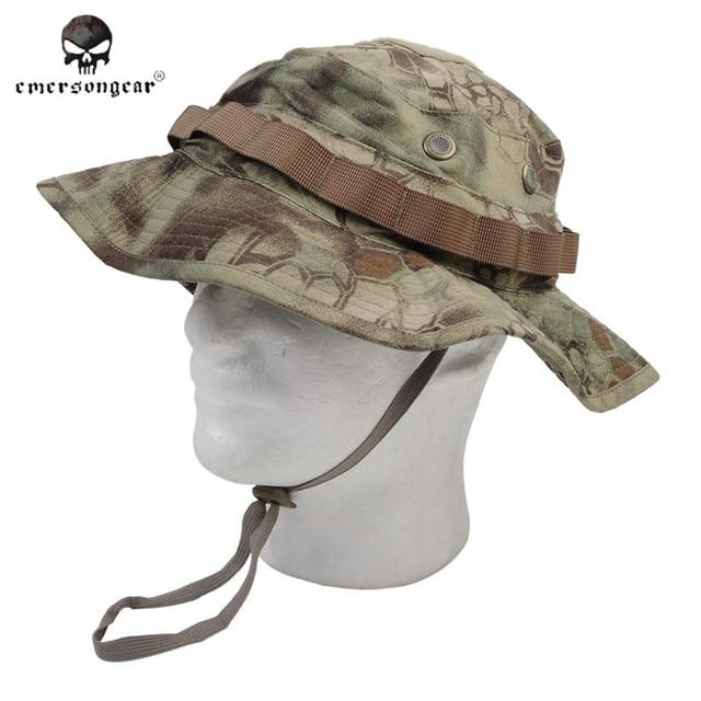 EMERSON Boonie Hat Military Tactical Army Hat Anti-scrape Grid Fabric  Camouflage Hat Kryptek Mandrake Hunting Cap for Men affb8677b2c