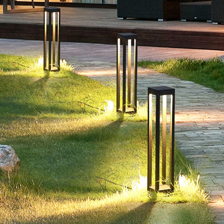 Thrisdar impermeable al aire libre lámpara de césped Simple moderno jardín paisaje Pilar luz camino Villa paisajismo Jardín-bolardo de luz