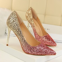 New Women Pumps Shoes Bling Pointed Toe Slip-On Mixed Color 9.5cm Thin High Heels Shallow Sexy Club Lady Party Female Shoes krazing pot full grain leather slip on women pumps basic design mixed color style pointed toe office lady career wear shoes l77