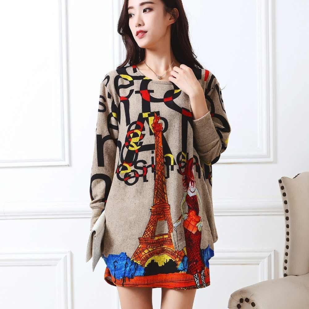 a883264529a Новинка 2018 г. осень зима модные женские туфли Длинные рукава Платья для  женщин плюс Размеры