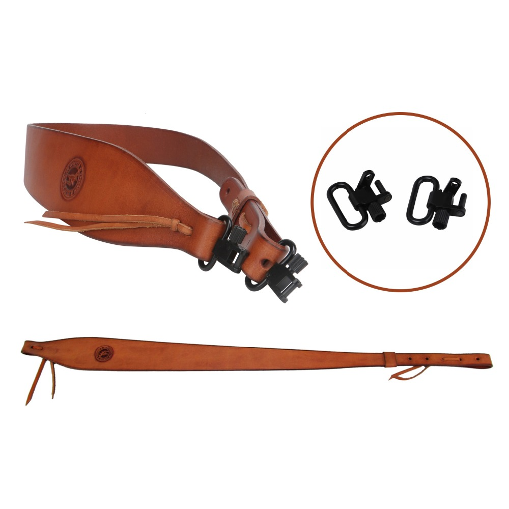 Tourbon Hunting Gun Sling Genuine Leather Rifle Belt w/Swivels Shotgun Shooting Shoulder Strap Gun Accessories Adjusted(1 SET)