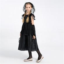 Hot Sale Girls Dark Bride Costume Halloween Kids Fancy Party Cosplay Dress