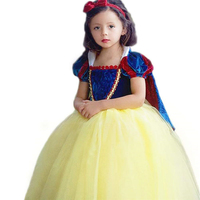 TEAEGG Aurora Snow White Princess Dress Costume for Girls Dress up Halloween Party Halloween Party Flannel Lace Custome Dress
