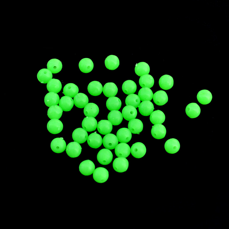 Luminous Fishing Beads 100pcs/lot Soft Rubber Floating Fluorescent Green Fishing Beads Diameter 4mm/5mm/6mm/7mm/8mm