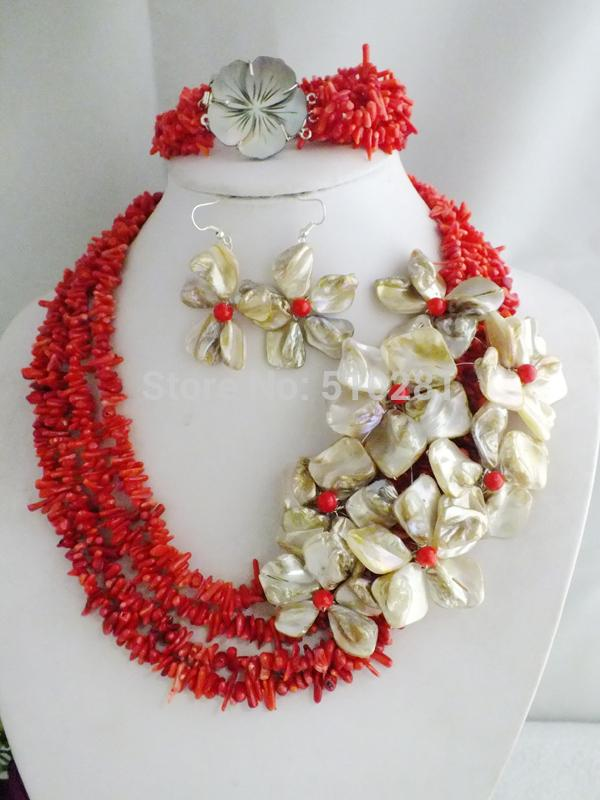 NO-230#  Fashion Coral Beads Necklace Coral Jewelry Set With Shell Flowers