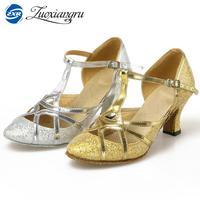 Zuoxiangru New Style Women Ladies Girls Ballroom Wedding Party Modern Dance Shoes Closed Toe Glitter Indoor