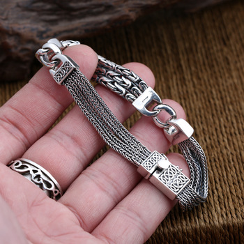 New S925 pure silver jewelry weaving peace pattern bracelet for Men Thai silver multi-strand silver chain men's silver bracelet