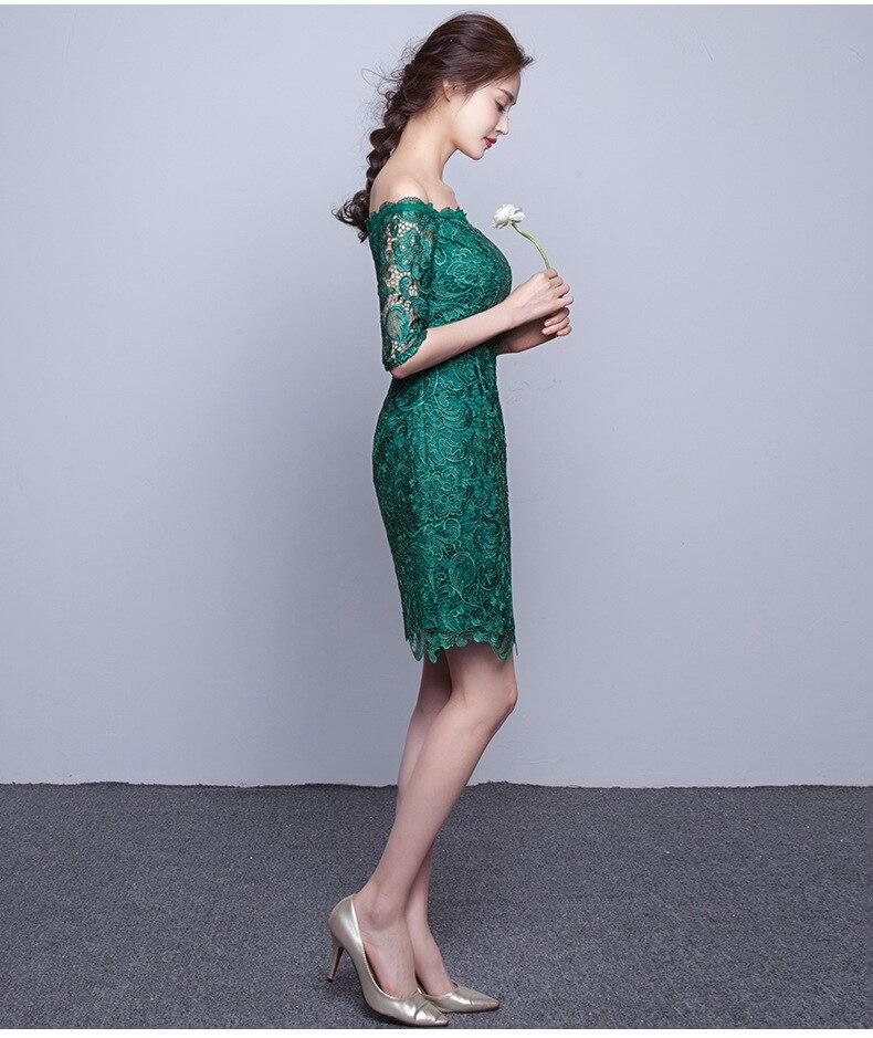 best sneakers dddfd 030de US $41.53 10% di SCONTO|Sexy Verde Smeraldo Abiti Da Sera Corto In Pizzo  Con Scollo A Barchetta Mezza Sleelve Abito Da Sera Elegante Vestido De  Festa ...