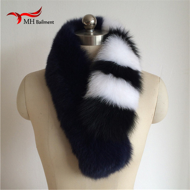 2016 Real Fox Fur Collar Women 100% Natural Fox Fur Scarf Winter Warm Fur Collar Scarves Black and white fashion L#17