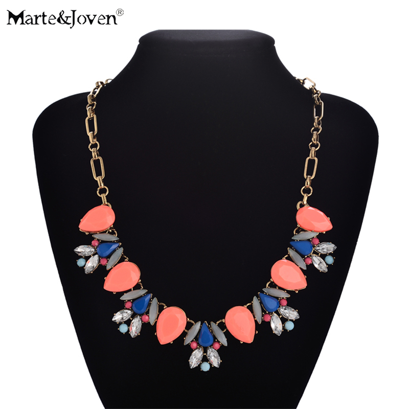 Necklaces & Pendants Devoted Marte&joven Candy Color Water Drop Resin Choker Statement Necklace For Women Fashion Jewelry Accessories Ladies Flower Necklaces