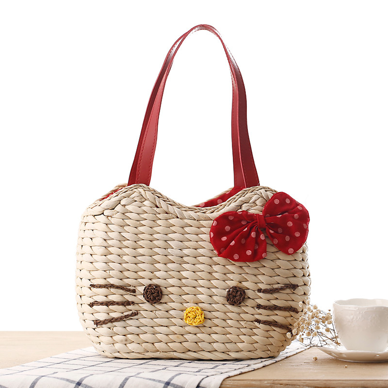 Cute little girls bags bow tie shoulder bag korean straw bag fashion woven handbag women totes Korean style fashion girl bag