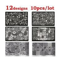 2015 New 10pcs Flowers Nail Art Image Stamp Plates Stencil Nail Stamping Template DIY Polish Print
