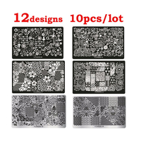 Hot 10 unids Serie Flores Nail Art Imagen Placas Sello Stencil Plantilla Stamping DIY Impresión De Uñas Herramientas de Manicura Al Por Mayor