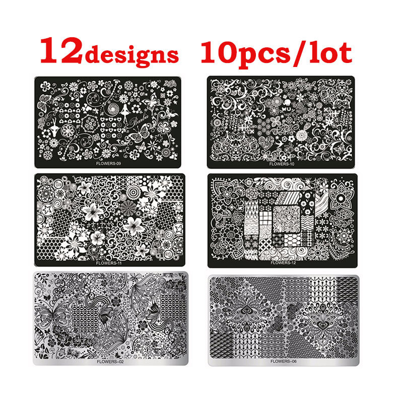 Hot 10pcs Flowers Series Nail Art Image Stamp Plates Stencil Nail Stamping Template DIY Polish Print Manicure Tools Wholesale  цена