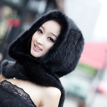 New Geniune Mink Hat Scarf Women's Handmade Knitted Mink Fur Scarf Hat Free Size EMS Free Shipping