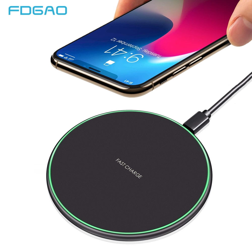 FDGAO 15W Qi Fast Charging Wireless Charger For iPhone X XR XS Max 8 Samsung Note 9 S8 S9 S10 Plus USB Tpye C Quick Charge Pad