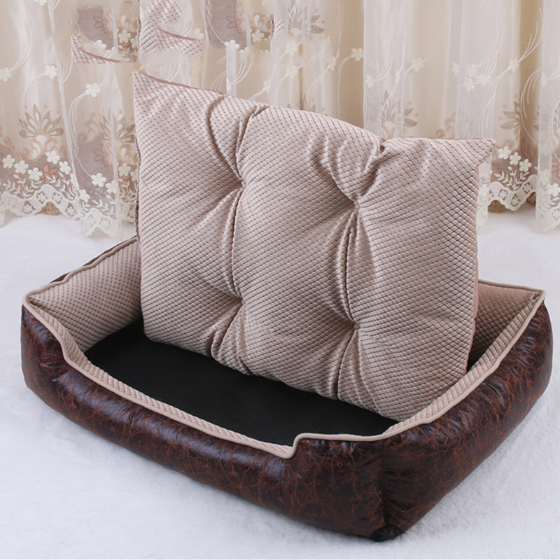 Luxury PU Leather Dog Beds Waterproof Cozy Pet Dog Basket Cat Kennel Removable Mattress For Puppy Big Animals Bulldog Teddy