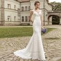Vestido De Noiva Sereia 2015 de Alta Qualidade Elegante Sereia Vestidos de Casamento Vestido de Noiva Sem Mangas V Neck Mulher Rendas Plus Size