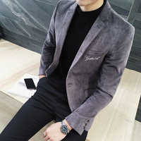 Mens Corduroy Blazers 2018 Autumn Winter 3XL Solid Grey Green Brown Single Breasted Casual Blazer Jackets For Men Blazer Pattern