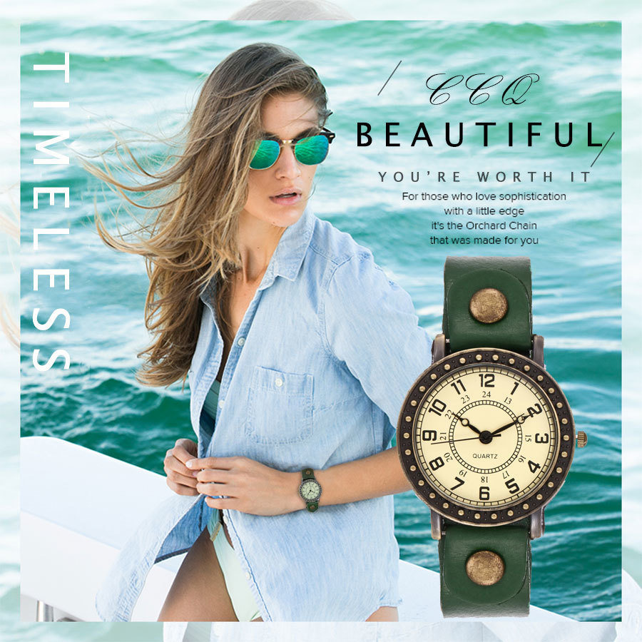 цены 2017 CCQ Brand Women Vintage Genuine Leather Bracelet Quartz Watch Punk Rivet Case Wristwatches Waterproof Casual Female Clock