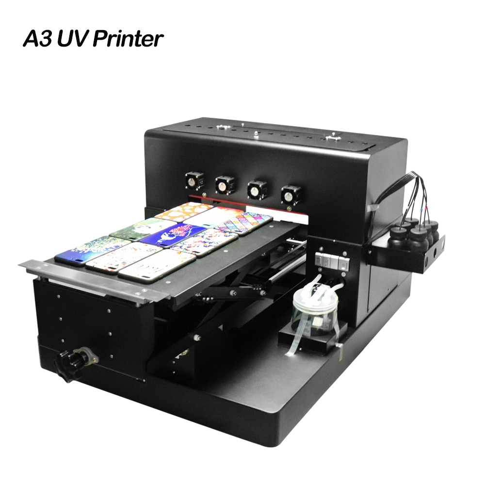 2018 A3 UV Inkjet Printer LED UV Printing Machine for Customize Phone Case Wood Metal Phone Case Glass Signs PVC card Leather