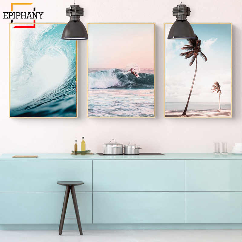 Gallery Wall Art Aerial Beach Ocean Wave Palm Tree Print Surf Posters and Prints Nordic Home Decor Wall Pictures for Living Room